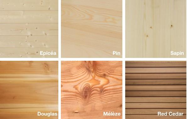 différentes essences de bois